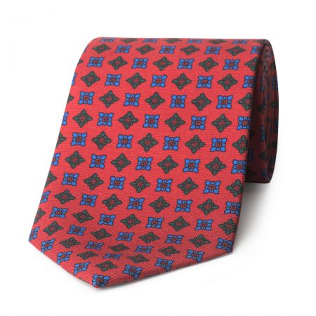 Damask Madder Silk Tie in Red and Blue