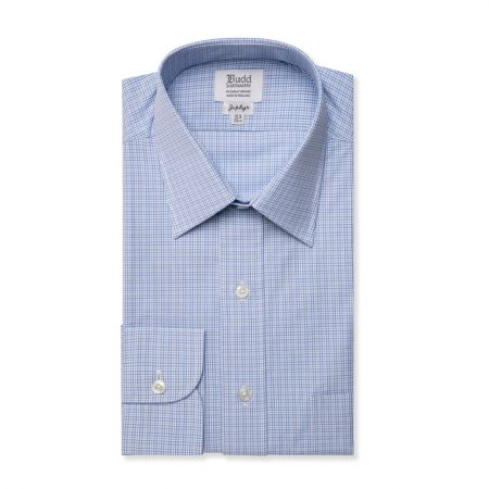 Classic Fit Small Neat Check Zephyr Cotton Shirt in Blue