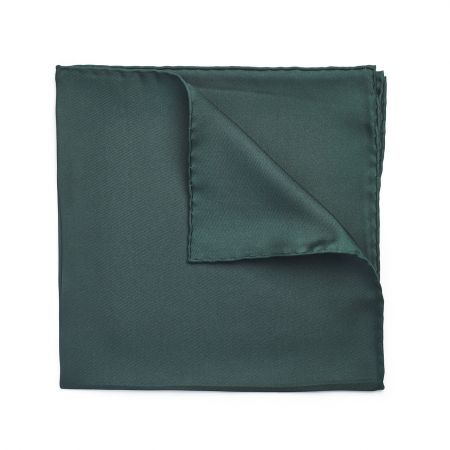 Plain Silk Hand Rolled Pocket Square in Bottle Green