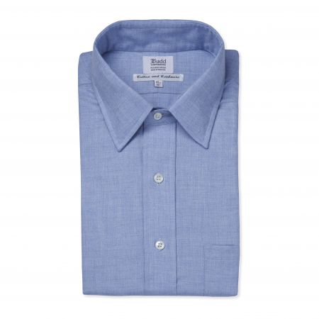Classic Fit Small Herringbone Cotton and Cashmere Button Cuff Shirt in Blue