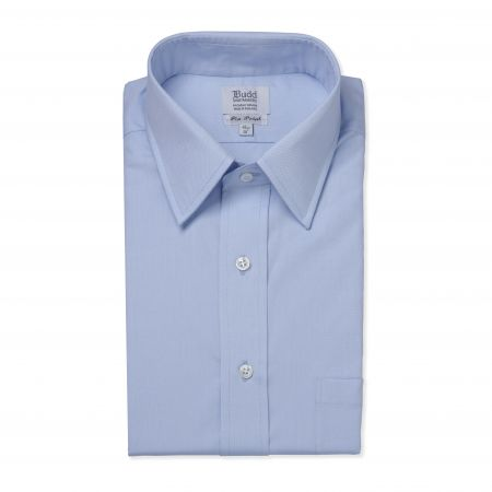 Classic Fit Plain Pinpoint Oxford Button Cuff Shirt in Sky Blue