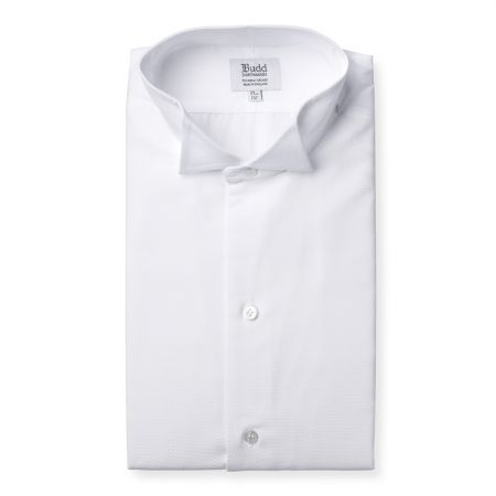 Classic Fit Plain Marcella Double Cuff Wing Collar Dress Shirt in White