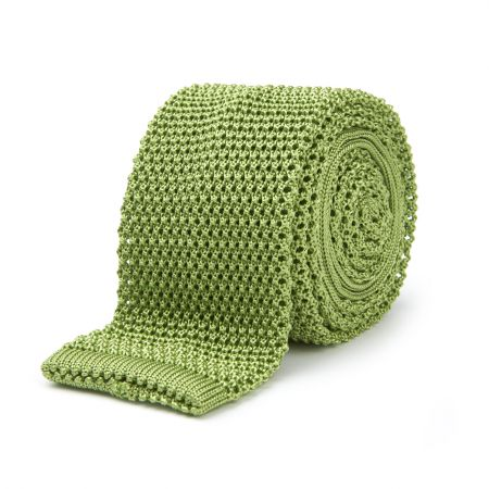 Plain Silk Knitted Tie in Apple Green