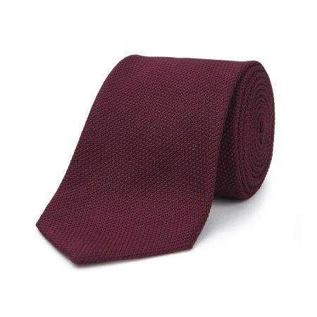 Plain Silk Piccola Grenadine Tie in Burgundy