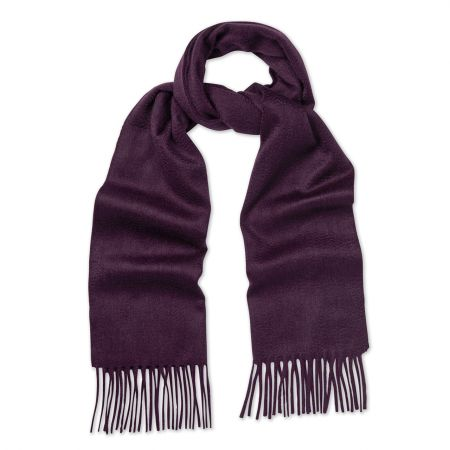 Plain Ripple Cashmere Scarf in Loganberry