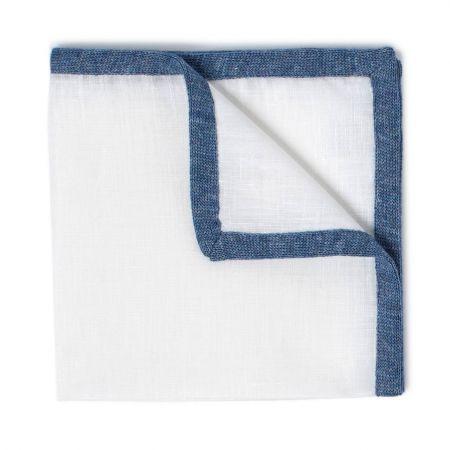 Plain Linen and Cotton Coloured Border Handkerchief in Blue