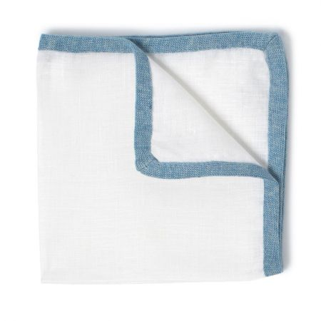 Coloured Border Linen and Cotton Handkerchief in Sky Blue