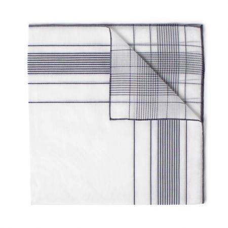 Harlan Batiste Cotton Handkerchief in White and Navy