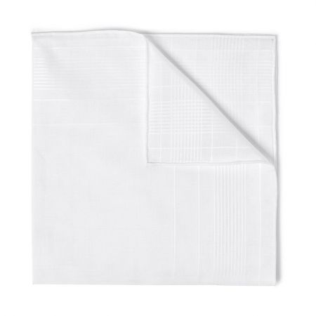 Harlan Batiste Cotton Handkerchief in White