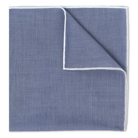 Plain Batiste Cotton Handkerchief in Navy