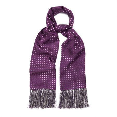 Purple and White Atkinson Silk Spot Scarf