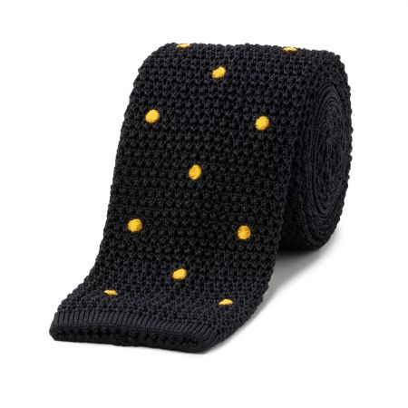 Navy with Gold Spot Knitted Silk Tie