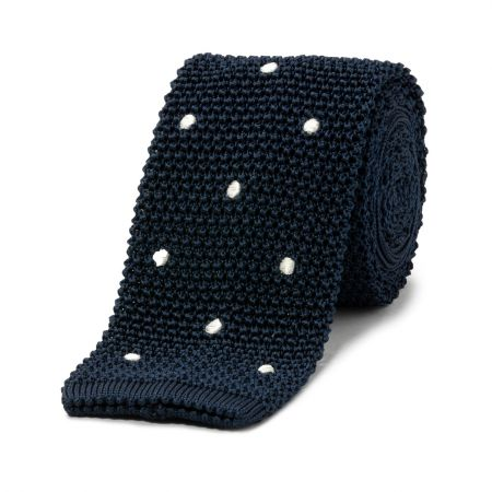 Navy with White Spot Knitted Silk Tie
