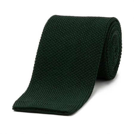 Birdseye Silk Knitted Tie in Green