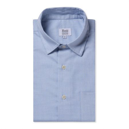 Casual Fit Puppytooth Check Cotton and Cashmere Button Cuff Shirt in Sky Blue