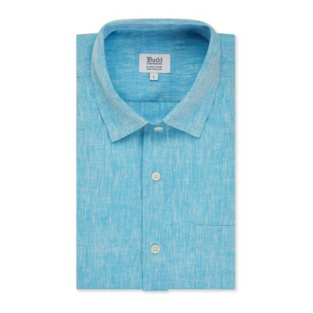 Casual Fit Plain Linen Button Cuff Shirt in Cyan