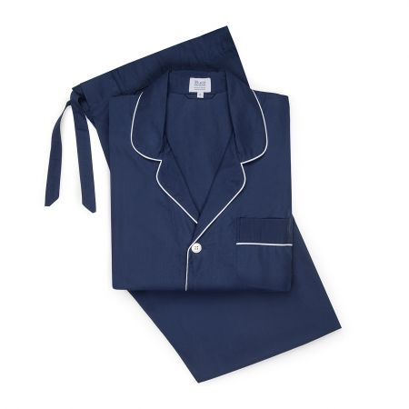 Poplin Pyjamas in Navy and White