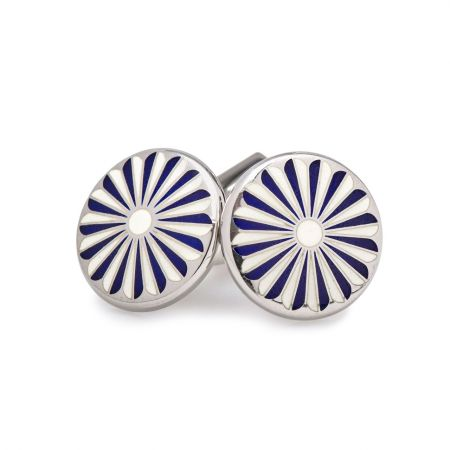 Flora Cufflinks in Ivory and Navy
