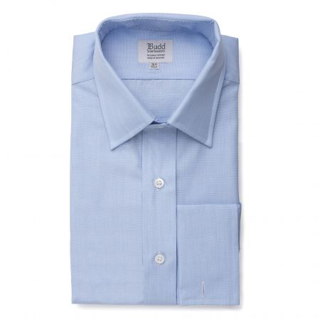 Classic Fit Plain End on End Double Cuff Shirt in Sky Blue