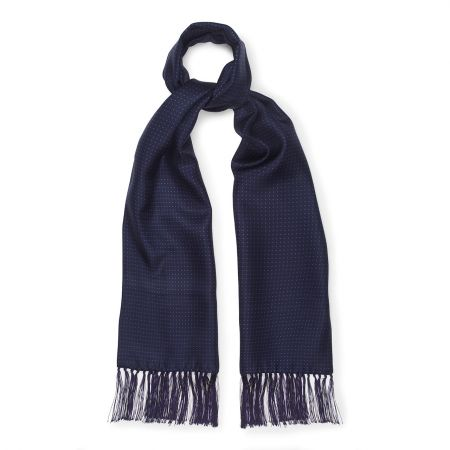 Adamley Silk Small Spot Scarf in Navy and Purple