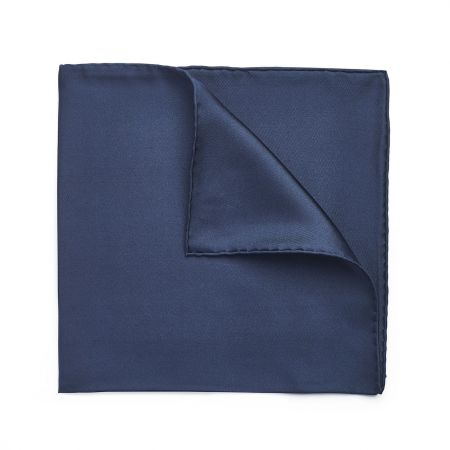 Plain Silk Hand Rolled Pocket Square in Navy