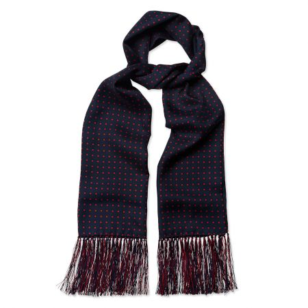 Atkinson Spot Silk Scarf in Navy and Red