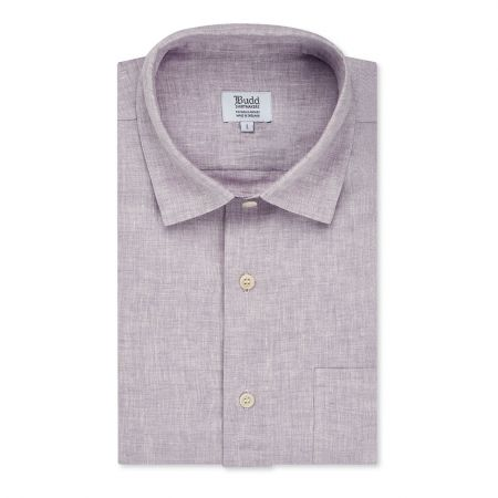Casual Fit Plain Linen Button Cuff Shirt in Amethyst