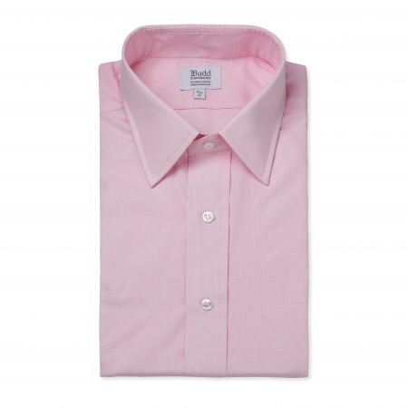 Classic Fit Plain End on End Double Cuff Shirt in Pink