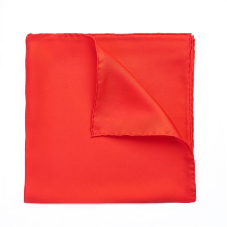 Plain Silk Hand Rolled Pocket Square in Red