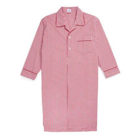 Gingham Seersucker Nightshirt in Red