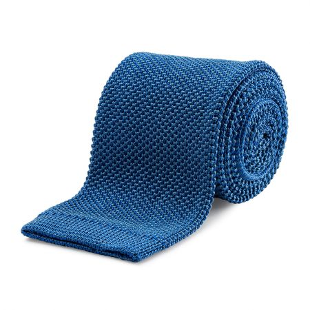 Plain Silk Birdseye Knitted Tie in Royal