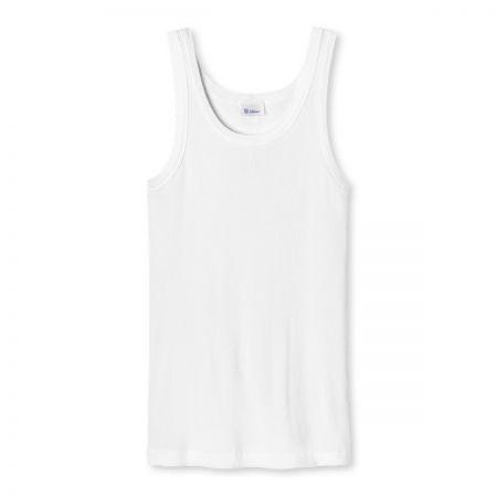 Plain Cotton Schiesser Traditional Vest in White