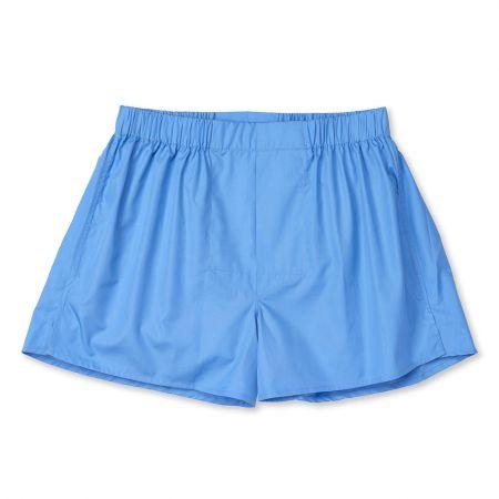 Plain Cotton Chairman Boxer Shorts in Saxe Blue