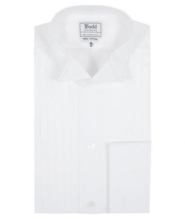 Classic Fit Wing Collar Hand Pleated Double Cuff Dress Shirt in White