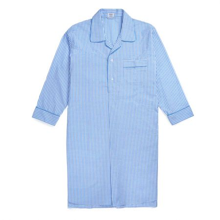 Gingham Seersucker Nightshirt in Sky Blue