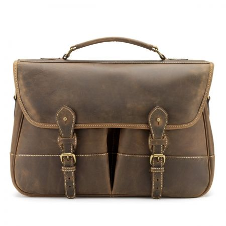 Tusting Clipper Large Leather Satchel Briefcase in Aztec Crazyhorse