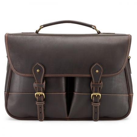 Tusting Clipper Large Leather Satchel Briefcase in Sundance Floodlight
