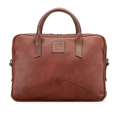 Tusting Langford Leather Briefcase in Chestnut