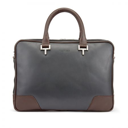 Tusting Mortimer Laptop Case in Pewter and Chocolate