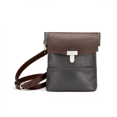 Tusting Ripon Reporter Messenger Bag in Pewter and Chocolate