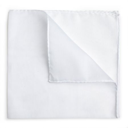 Plain Batiste Cotton Handkerchief in White