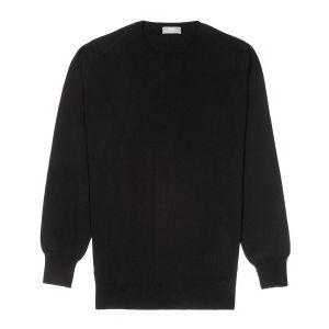 Plain Wool Crew Neck Jumper in Black
