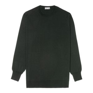Plain Wool Crew Neck Jumper in Bottle