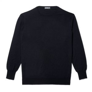 Plain Wool Crew Neck Jumper in Midnight