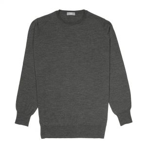 Plain Wool Crew Neck Jumper in Smoke