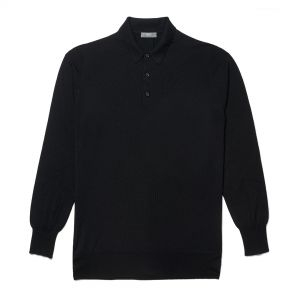 Plain Wool Sports Shirt in Black