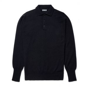 Plain Wool Sports Shirt in Midnight