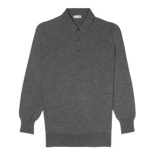 Plain Wool Sports Shirt in Smoke