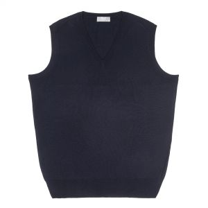 Plain Wool Slip Over Jumper in Dark Navy