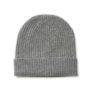 Plain Cashmere Ribbed Hat in Flannel